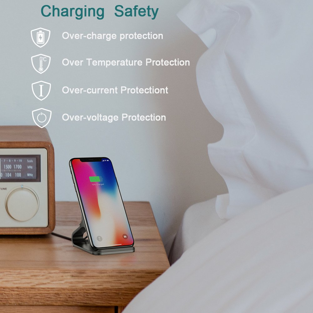 Mercase QI Wireless Charger Stand [10W High-Speed Smart Charging, Built-in IC Safety Protection, Aluminum Material] Fast Charge Samsung Note 8 Galaxy S8 S9 S7 S6 Edge Plus, Standard Charge for iPhone X 8 Plus Nexus and All QI-Enabled Device