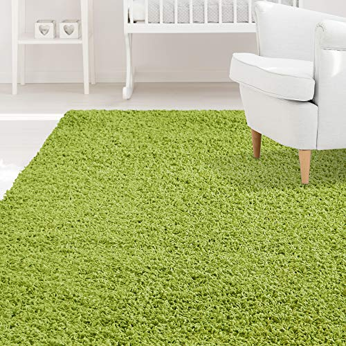 iCustomRug Affordable Shaggy Rug Dixie Cozy & Soft Kids Shag Area Rug Solid Color Lime Green, for Children