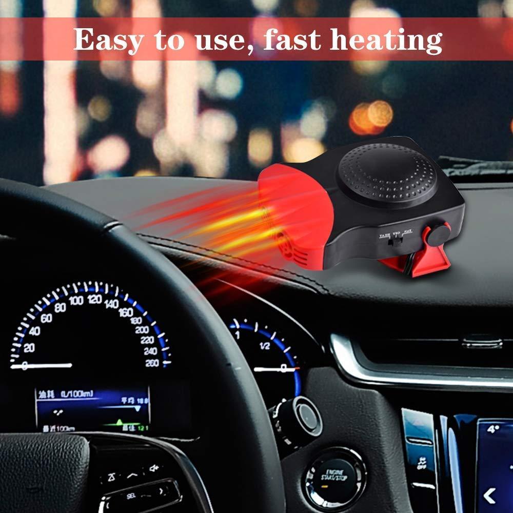 Auto-Heizer 3 Ausg/änge leegoal Kfz-Heizungsventilator tragbarer Auto-Heizl/üfter mit 180 Grad drehbarem Griff schnelle Heizung schnelles Auftauen und Entfrosten von 12 V 2-in-1 150 W K/ühlung