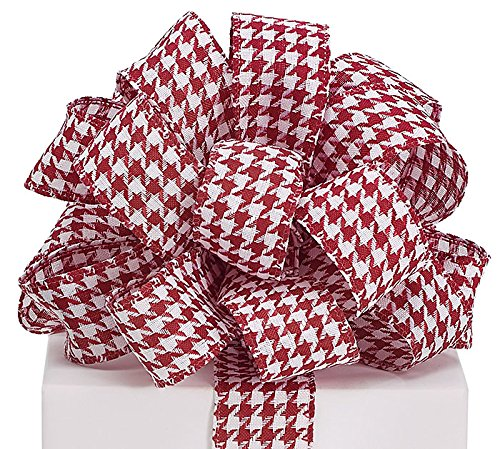 Glittery Houndstooth Red and White Fabric Wired Ribbon - 1.5