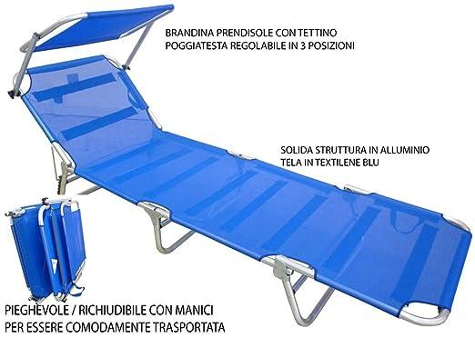 51 opinioni per Lettino Brandina Prendisole blu alluminio mare campeggio giardino piscina