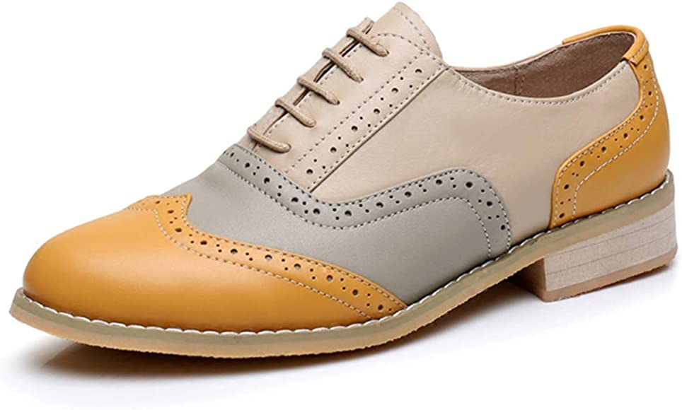 Leather Brogues Flat Oxford Shoes | Oxfords