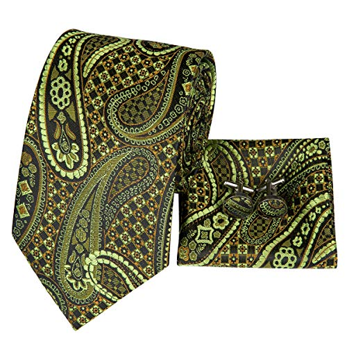 - Hi-Tie Men Green Paisley Floral Tie Necktie with Cufflinks and Pocket Square Tie Set