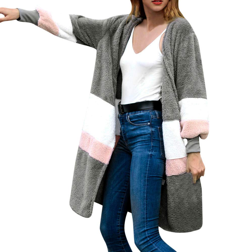 Trench Coats For Women Liraly Fashion Winter Arctic Velvet Round Neck Long Sleeve Long Stitching Jacket(Gray,US-8 /CN-L)