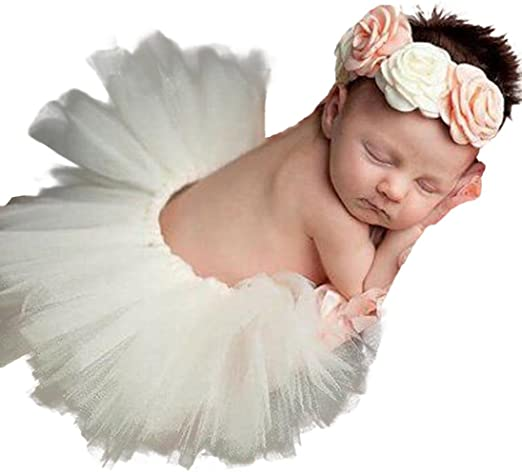 Newborn Baby Girls Tutu Skirt Dress Headband Photo Photography Props Outfits