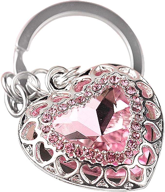 KC060 Rhinestone Blessed Heart Charm Keychain Keyring 76mm