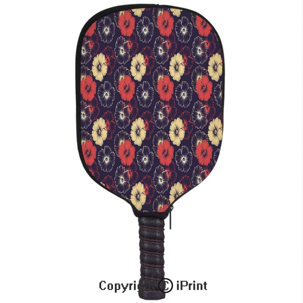Amazon.com : Premium neoprene material, soft, thick enough Protector Pickleball Paddle Cover, Large Exotic Eastern Hollyhock Flowers Modern Digital Love ...