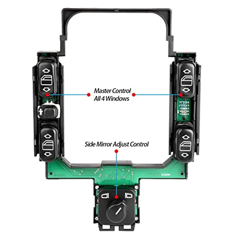 amazon com: window rocker switch pack console - for mercedes-benz e-class  w210 e300 e320 e420 e430 e55 amg - window control, mirror adjust: automotive