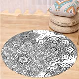 VROSELV Custom carpetMandala Indian Ethnic Lace Floral Pattern Arabesque Moroccan Effects Islamic Folk Design for Bedroom Living Room Dorm Grey White Round 47 inches