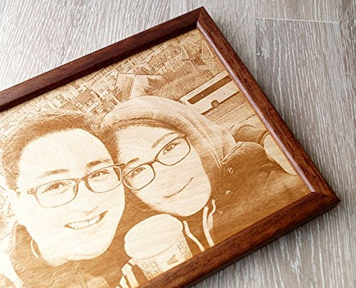 Engraved wooden picture, 5th wedding anniversary gift, picture engraving on wood, wooden anniversary gift, YOUR wedding picture on wood