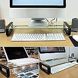 UBOARD SMART 3 Ports USB Black Tempered Glass Monitor Shelf Multi-Monitor Stand Black