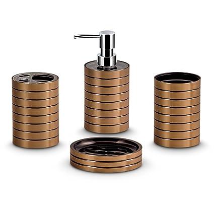 Freelance Miami Polystyrene 4 Pieces Bathroom Set Dispenser, Toothbrush  Holder, Tumbler U0026 Soap
