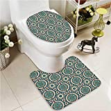 VROSELV 2 Piece Toilet lid cover mat set Elegant Islamic Style Ornate Persian with Touch Artprint Red Grey Teal Washable Non-Slip