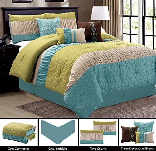 Modern 7 Piece KING Bedding Light Blue / Sage Green / Beige Ruffle Embroidered Comforter Set with accent pillows
