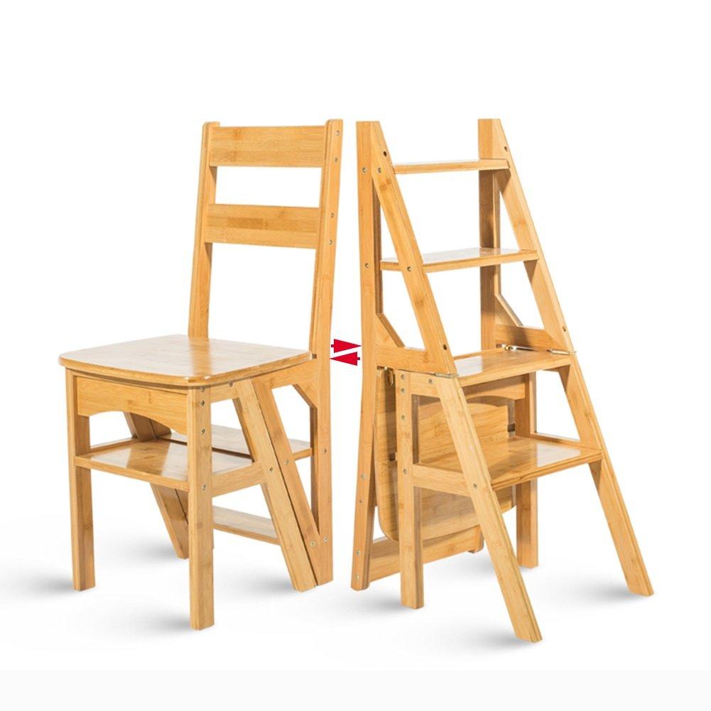 4ステップスツール子供折りたたみチェア家庭用多機能二重使用高いはしご階段ダイニングテーブルチェア (色 : 木の色) B07D74T11H  木の色