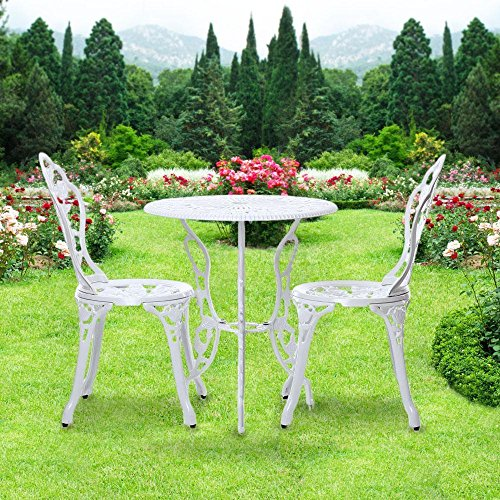 Zurich Set Table (Outdoor Garden Patio Furniture Park Bistro Set 3 Pcs. Leaves Pattern Table Chair White)