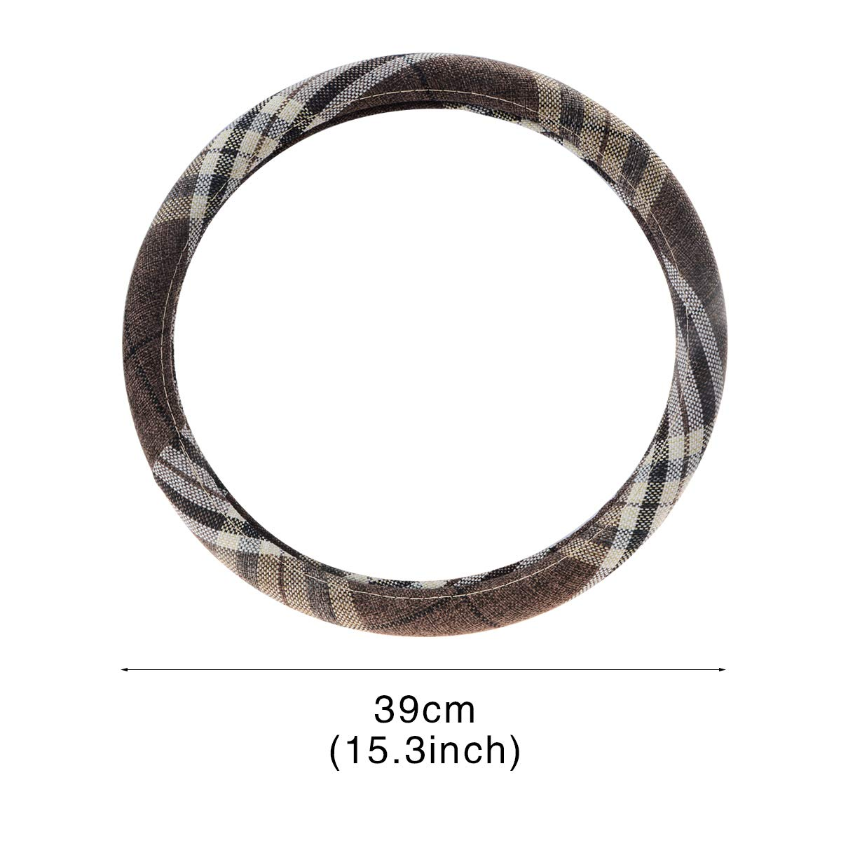 ZYHW Car Steering Wheel Cover Universal Coarse Flax Cloth Auto Anti-Slip Sweat Absorption Steering Wheel Protector Chocolate Brown Style 16inch//39cm