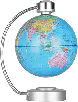 YANGHX Levitation Floating Globe 4inch Rotating Magnetic Mysteriously Suspended in Air World Map Home Decoration Crafts Fashion Holiday Gifts White