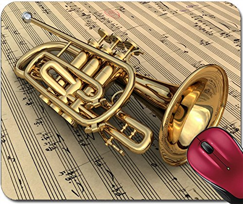 Liili Mousepad Brass Lacquered Trumpet Laying on Music Notes Photo 9208897