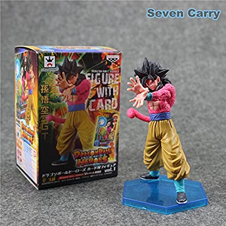 Dragon Ball Z Heroes Super Saiyan 4 Son Goku Figure With Card Collectible Model Toy Boys