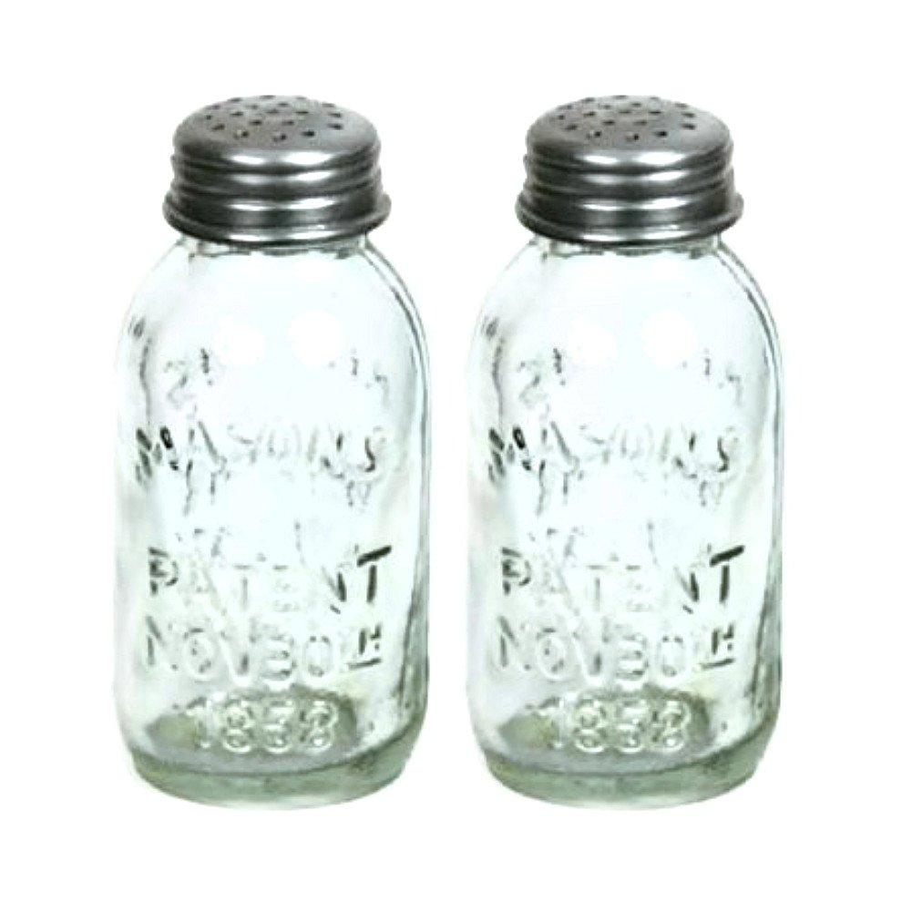 amazon com set of 2 glass mason jar salt and pepper shakers amazon com set of 2 glass mason jar salt and pepper shakers mason jar lids kitchen dining