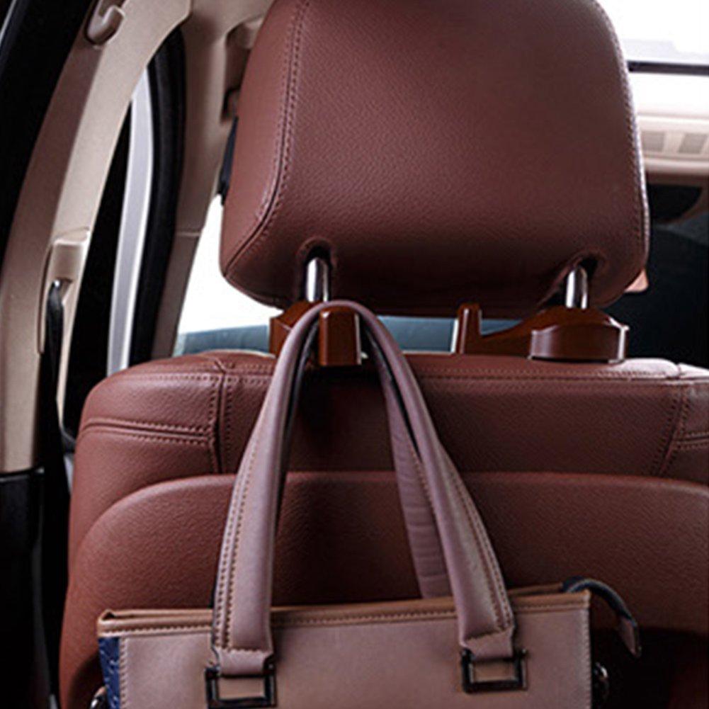 Black EMVANV 2pcs Hidden Car Chair Hanging Hook Headrest Hanger Bag Organizer Holder Hook Universal Convenient Vehicle Back Seat Storage