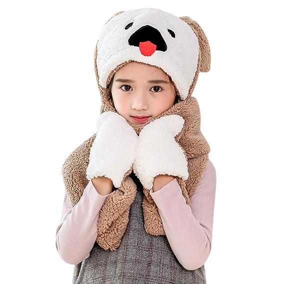 b5207c4be5f HEETEY 1pc Baby Fox Cartoon Warm Fluffy Hood Scarf Hat Snood Pocket Hats  Gloves Ears Accessorize