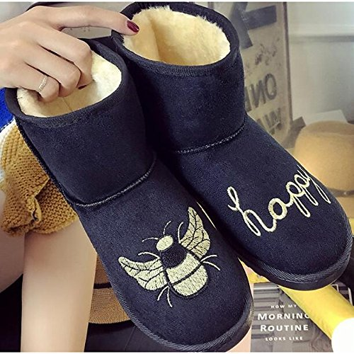 Mid leather Low HSXZ Women's ZHZNVX Light Fall Black Gray Snow Heel Pink for Nubuck Pink Winter Casual Boots Shoes Brown Comfort Calf Boots Boots OnSfFwfxPI