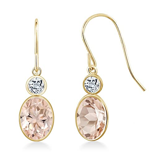 Gem Stone King 1.58 Ct Oval Peach Morganite White Topaz 14K Yellow Gold Earrings