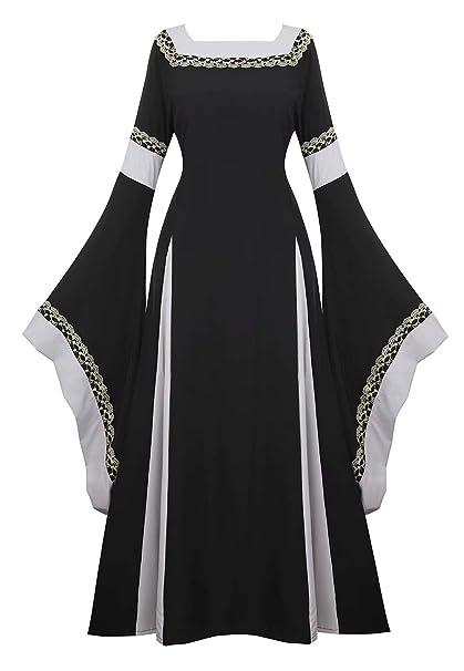 Vestido Medieval Renacimiento Mujer Vintage Victoriano gotico Manga Larga de Llamarada Disfraz Princesa