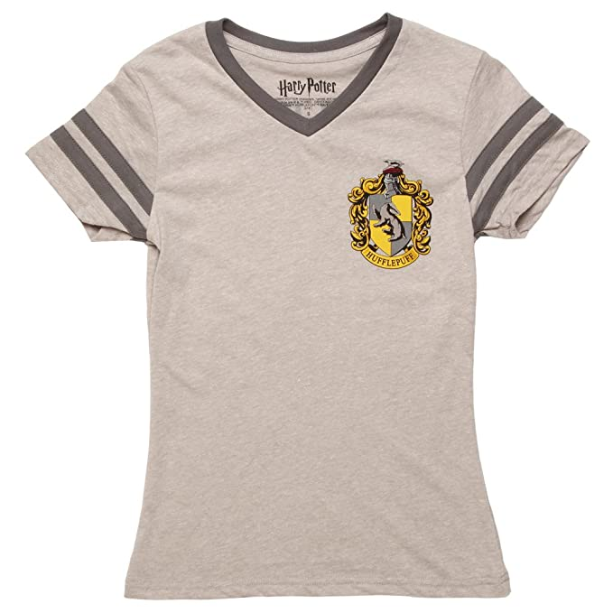 53a826da9374b Amazon.com  Bioworld Harry Potter Hufflepuff Varsity Junior Tee - Grey  (X-Large)  Clothing