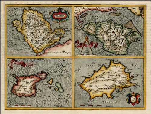 Reproduction Old Antique Map of Channel Islands Jersey, Guernsey, Isle of Wight and Anglesey by John Speed - Map Jersey Guernsey