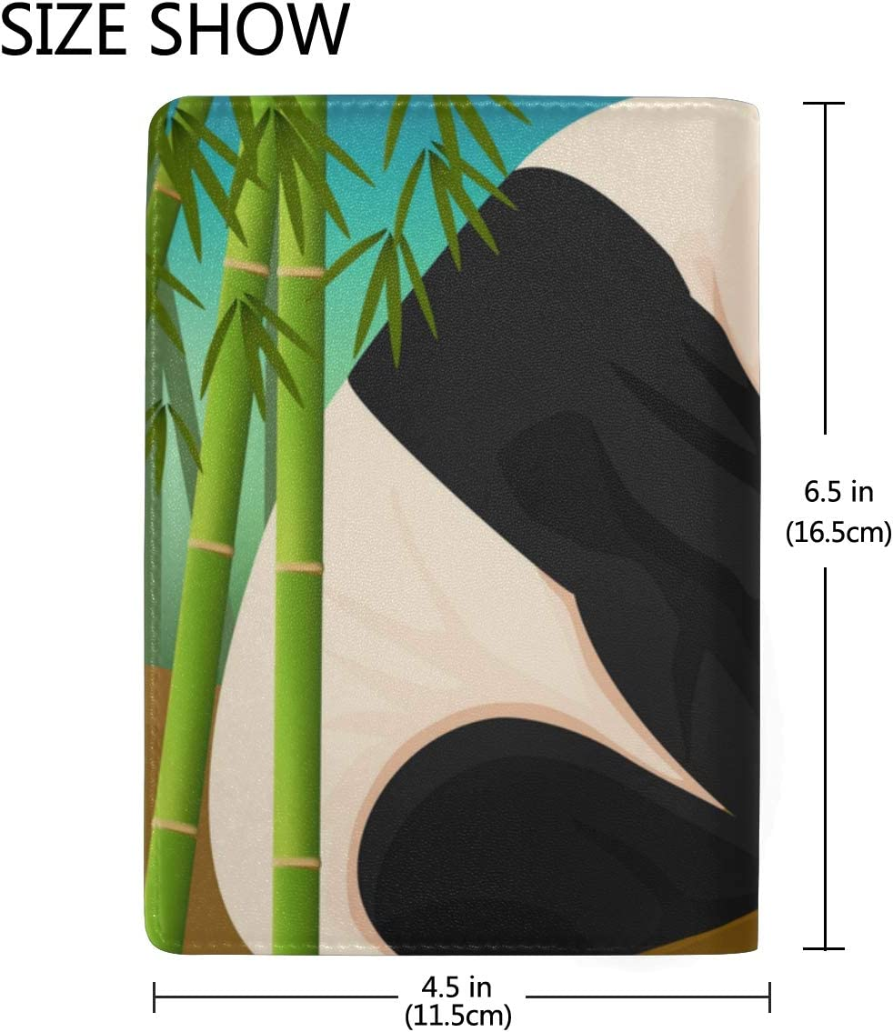 Chinese Black White Panda Bamboo Blocking Print Passport Holder Cover Case Travel Luggage Passport Wallet Card Holder Made With Leather For Men Women Kids Family