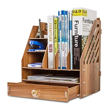 Dr NezixR Wood Desk Bookshelf For Office Home Expandable Tidy Desktop Storage Organizer