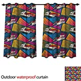 cobeDecor Superhero Outdoor Curtain for Patio Cats and Dogs Cape Mask W84 x L72(214cm x 183cm)