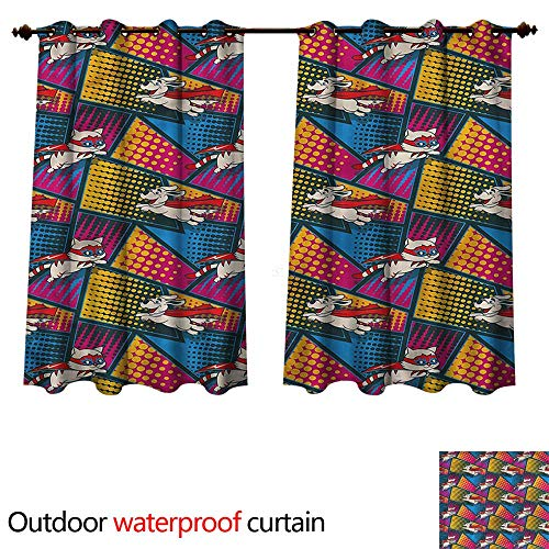 cobeDecor Superhero Outdoor Curtain for Patio Cats and Dogs Cape Mask W84 x L72(214cm x 183cm) by cobeDecor (Image #3)