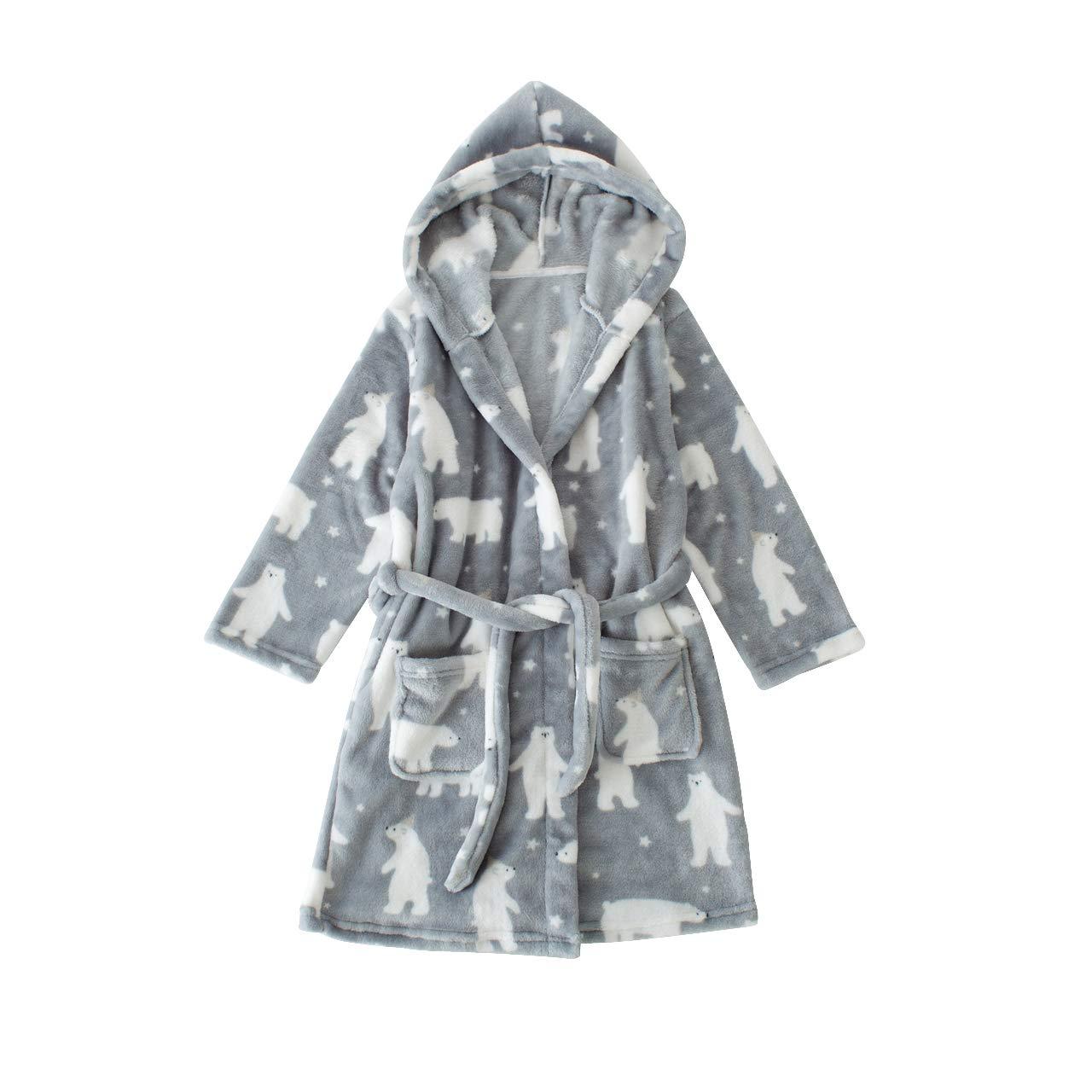 TOLLION Unisex Kids Bathrobe Boys Girls Plush Robe Toddler Hoodie Fleece Robe Sleepwear