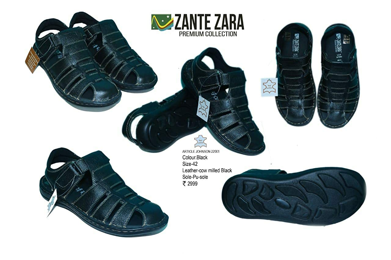 5e4ecb8a0f7e ZANTE ZARA Johnson 22001 Black- Men Black Leather Sandal  Buy Online at Low  Prices in India - Amazon.in