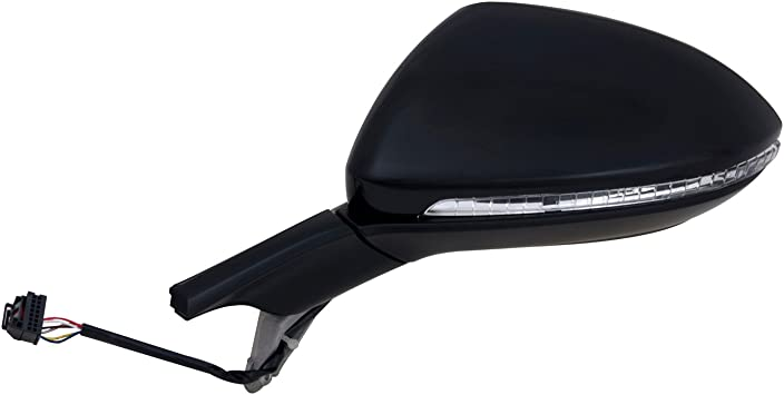 Puddle lamp w//Turn Signal Textured Black w//PTM Cover Heated Power Fit System Driver Side Mirror for Volkswagen Golf Power Fold w//o Memory