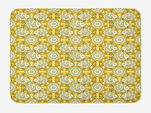 TAQATS Yellow and White Bath Mat, Aquarium Fishes with Stripes on Floral Composition Background, Plush Bathroom Decor Mat with Non Slip Backing, 23.6 W X 15.7 W Inches, Marigold Beige Yellow