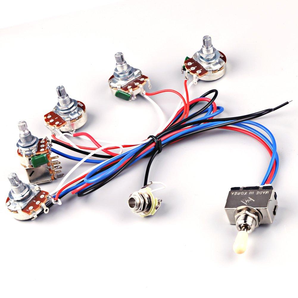 Amazon.com: Ascendas Electric Guitar Wiring Harness Kit 2V2T Pot ...