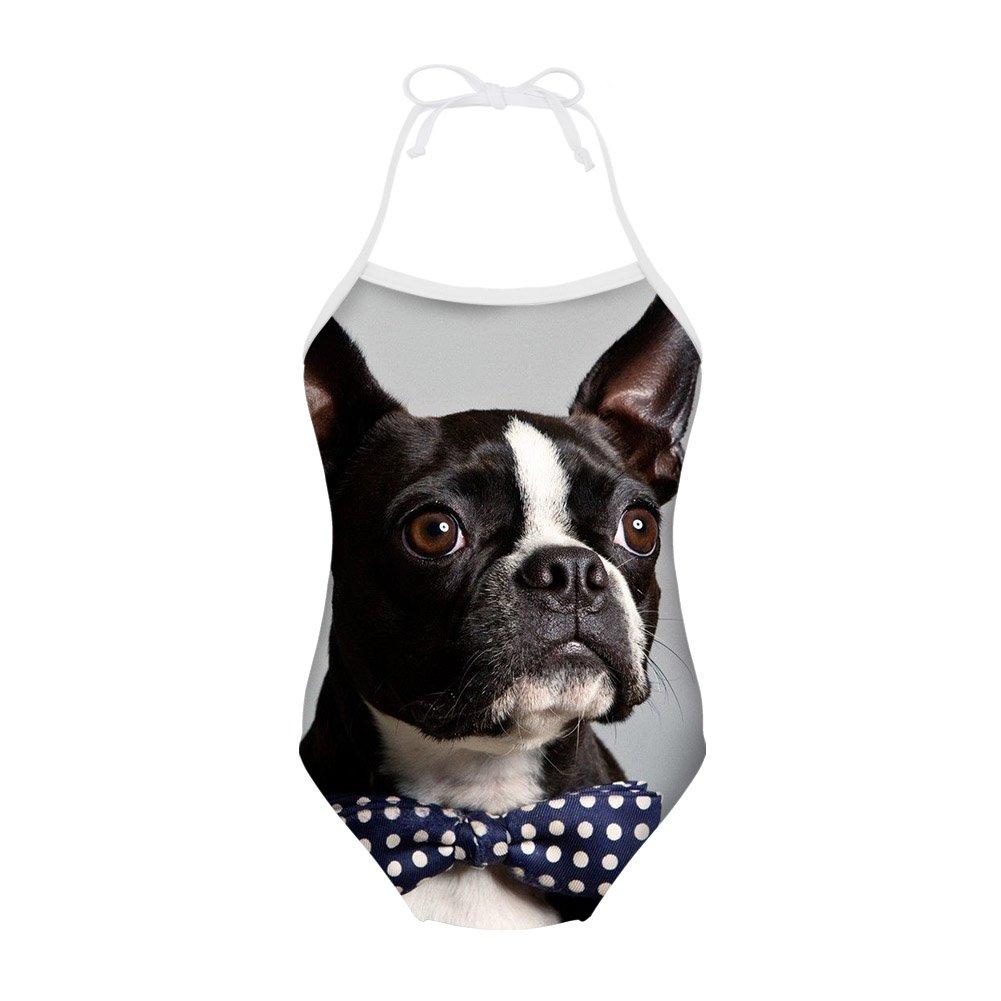 Sannovo Boston Terrier Breed Standard One Piece Animal Swimsuit Girl Cute Beachwear 7T-8T