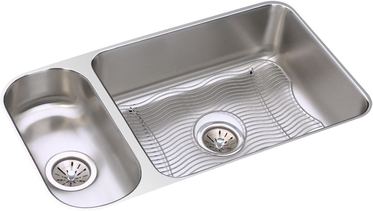Elkay ELUH3219DBG Lustertone Classic 30 70 Double Bowl Undermount Stainless Steel Sink Kit