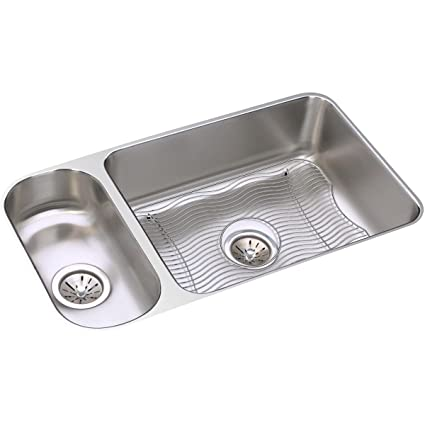 Elkay Lustertone ELUH3219DBG 30/70 Double Bowl Undermount Stainless Steel  Sink Kit