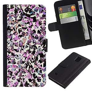 All Phone Most Case / Oferta Especial Cáscara Funda de cuero Monedero Cubierta de proteccion Caso / Wallet Case for Samsung Galaxy Note 4 IV // Birds Art Fashion Pink Decorative