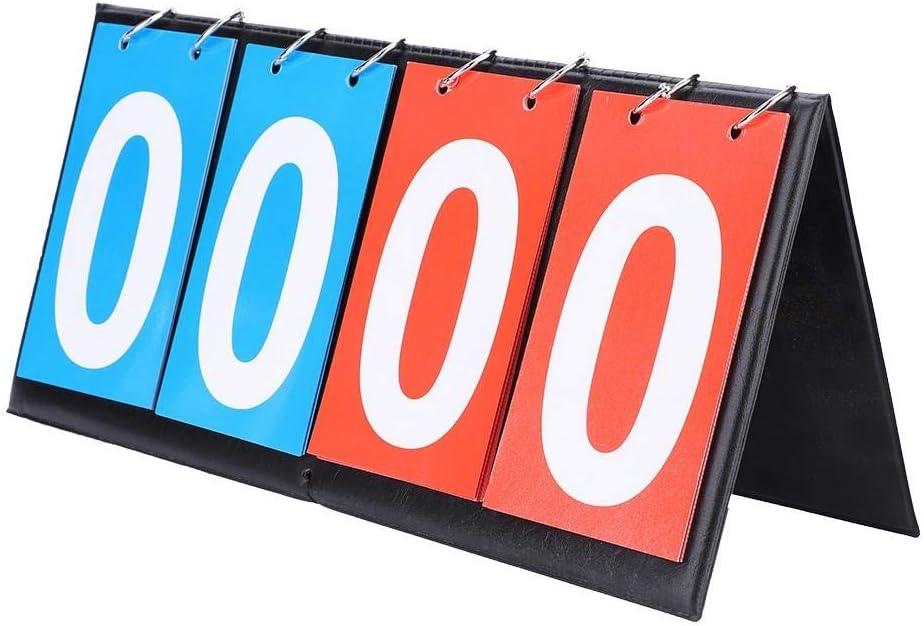 4 Chiffres-Rouge + Bleu Vikenar Tableau de Bord de Sport Flip Portable Score Compteur Tennis de Table Basketball