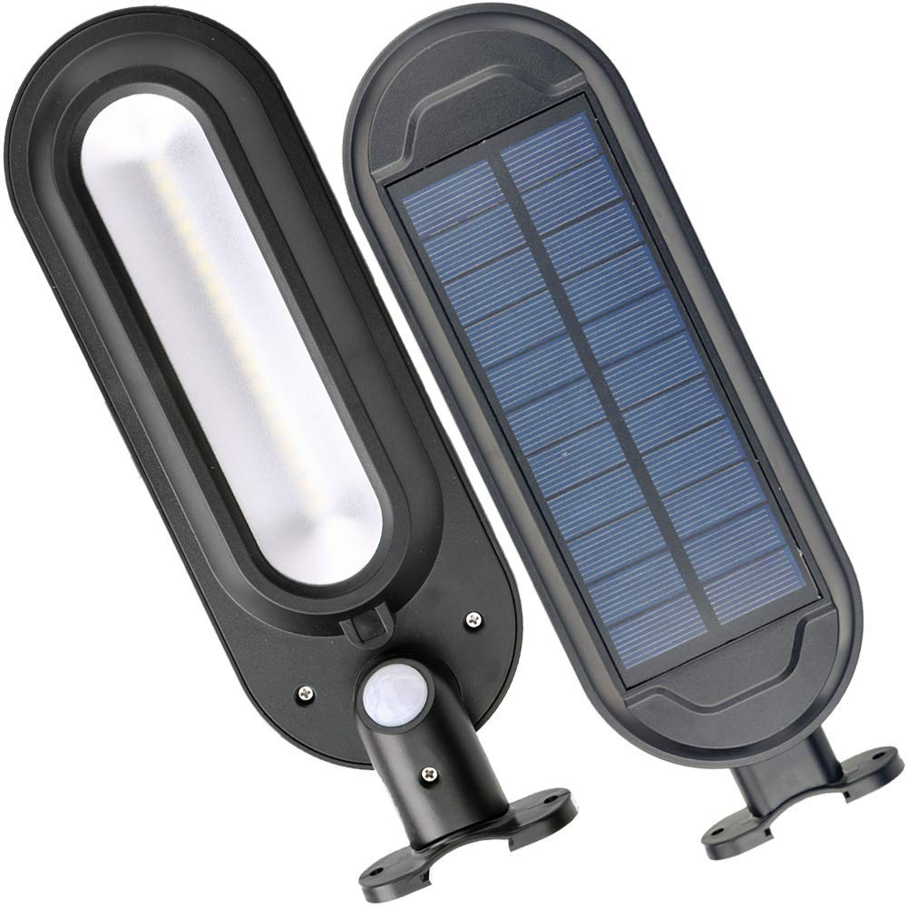 DS Lighting Solar Security Lights, Super Bright 18 LED Outdoor Garden Light Waterproof 4 Mode Wall Lamps PIR Motion Sensor Deck Patio Fence Walkway Gutter (Cool White, 2 Pack)