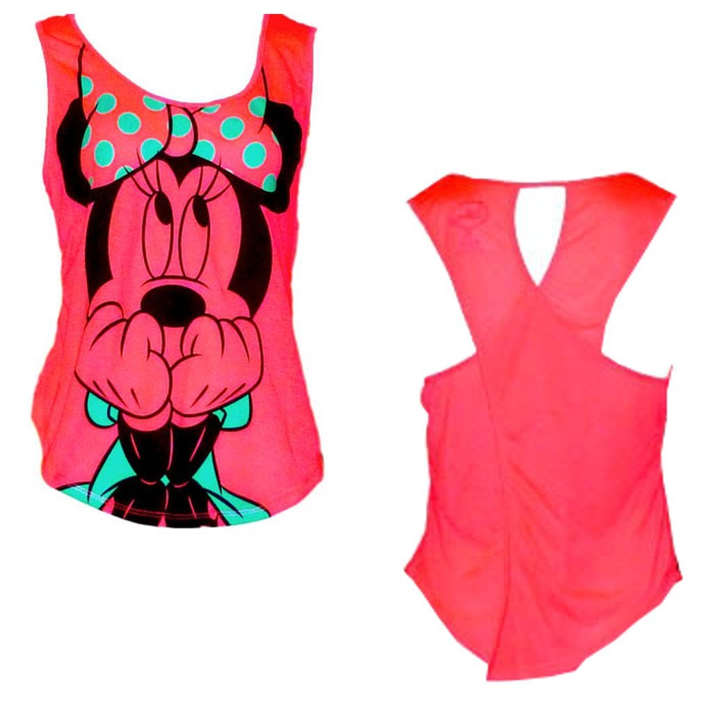 Disney's Teen/Junior Fashion Tank Top Scared Minnie Mouse TIU-DSN-WMN-TS-MINI-00-PNK