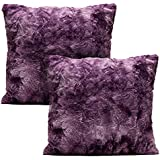 Wonderful Chanasya Super Soft Fuzzy Faux Fur Cozy Warm Fluffy Dark Purple Fur Throw  Pillow Cover Pillow Sham   Aubergine Pillow Sham 18x18 Inches(Pillow Insert  Not ...