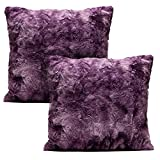 Purple Throw Pillows Chanasya Super Soft Fuzzy Faux Fur Cozy Warm Fluffy Dark Purple Fur Throw Pillow Cover Pillow Sham - Aubergine Pillow Sham 18x18 Inches(Pillow Insert Not Included) Waivy Fur Pattern 2-Pack
